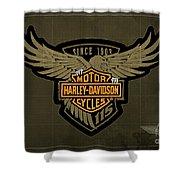 Harley Davidson Old Vintage Logo Fuel Tank Motorcycle Brown Background Shower Curtain