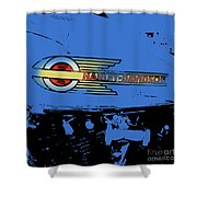 Harley Davidson Tank Logo Blue Artwork Shower Curtain