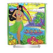 Hawaii Poster - Pop Art - Travel Shower Curtain