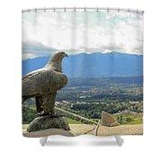 Hawk Overseeing Village. Shower Curtain