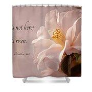 He Is Risen Shower Curtain by Mary Jo Allen