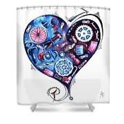 Heart Racing A Mad Shredder Biking Cycling Painting By Megan Duncanson Shower Curtain