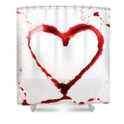 Heart Shape From Splaches And Blobs Shower Curtain