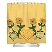Hearts Bronze Shower Curtain