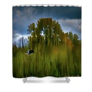 Heron Flying Abstract #h9 Shower Curtain