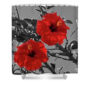 Hibiscus Selective Color Shower Curtain