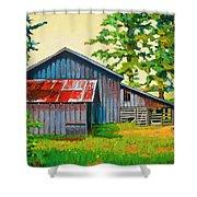 Hidden Sheep Barn Shower Curtain
