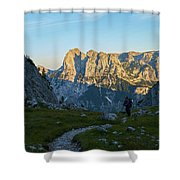 Hiker In The Morning Shower Curtain