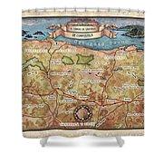 Hiking Map El Camino Spain Map Custom Map Art Shower Curtain