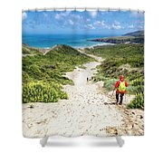 Hiking To Sandfly Bay New Zealand Shower Curtain