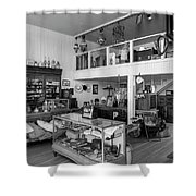 Hindsman General Store - Allensworth State Park - Black And White Shower Curtain