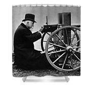 Hiram Maxim Firing His Maxim Machine Gun - 1884 Shower Curtain