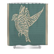 His Eye Is On The Sparrow Shower Curtain by Clint Hansen