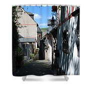 historic cobbled lane in Beilstein Germany Shower Curtain