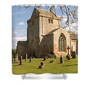 historic Crichton Church and graveyard in Scotland Shower Curtain