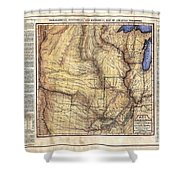 Historical Map Hand Painted Arkansaws Territory Shower Curtain
