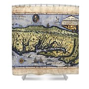 Historical Map Hand Painted Drake Virginia Shower Curtain