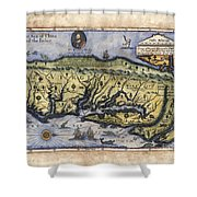 Historical Map Hand Painted Italy Vintage Shower Curtain