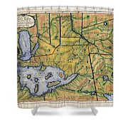 Historical Map Hand Painted Lake Superior Norhern Minnesota Boundary Waters Captain Carver Shower Curtain