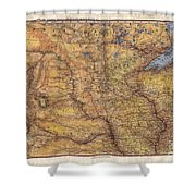 Historical Map Hand Painted Lake Superior North Dakota Minnesota Shower Curtain