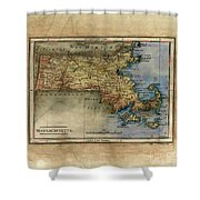 Historical Map Hand Painted Massachussets Shower Curtain