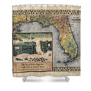 Historical Map Hand Painted St. Augustine Shower Curtain