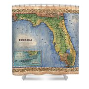 Historical Map Hand Painted Vintage Florida Colton Shower Curtain