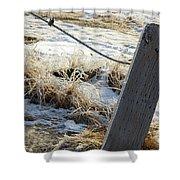 Hoar Frost On A Fence Along Turnagain Arm On The Seward Highway Alaska Shower Curtain