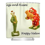 Hogs And Kisses Clown Valentines Shower Curtain