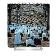 Holiday Wreaths At National Cemetery Shower Curtain by Tom Singleton