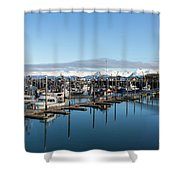 Homer Alaska Fishing Port Shower Curtain