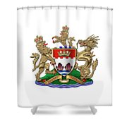 Hong Kong - 1959-1997 Coat Of Arms Over White Leather  Shower Curtain