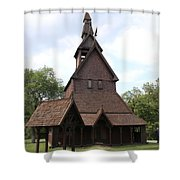 Hopperstad Stave Church Replica Shower Curtain