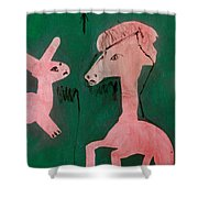 Horse And A Rabbit Shower Curtain