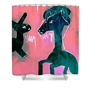 Horse And Rabbit On Pink Shower Curtain