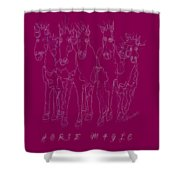 Horse Magic Line Drawing Horse Silhouette Design Shower Curtain