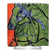 Horse On Orange And Green Shower Curtain