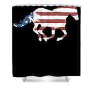 Horse Usa Patriotic Horse Silhouette Equestrian Riders Gift Light Shower Curtain