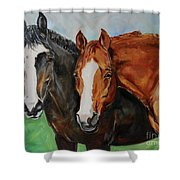 Horses In Oil Paint Shower Curtain