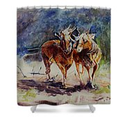 Horses On Work Shower Curtain