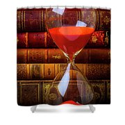 Hourglass And Old Books Shower Curtain