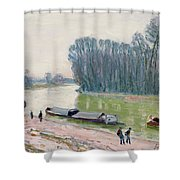 Houseboats On The River Loing Shower Curtain