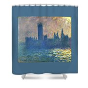 Houses Of Parliament, Sunlight Effect - Digital Remastered Edition Shower Curtain