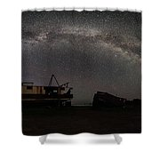 Hurkett Shipwrecks On A Late June Night Milky Way Arch Pano Shower Curtain