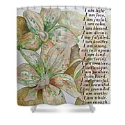 I Am...positive Affirmation In Coral And Green Shower Curtain