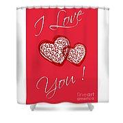 I Love You Hearts Shower Curtain