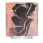 I Was Born In A Mine Woodcut 12 Shower Curtain