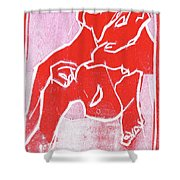 I Was Born In A Mine Woodcut 18 Shower Curtain
