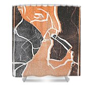 I Was Born In A Mine Woodcut 75 Shower Curtain