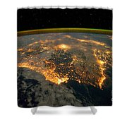 Iberian Peninsula From Space Shower Curtain